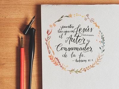 Handwritting nib pen watercolor art watercolor writting creative bible verse bible