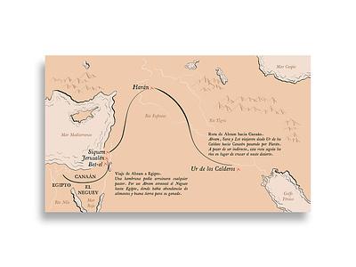 Mapa: Viajes de Abraham tolkien map direction art creative illustration flat gospel design
