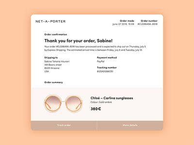 Email receipt – Daily UI #017 commerce fashion ux ui dailyui