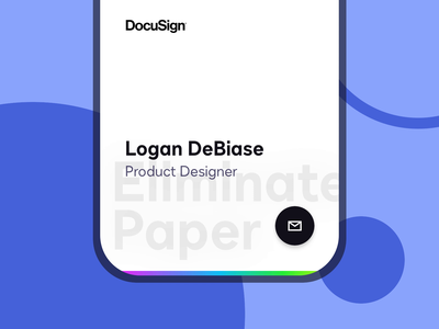 I joined DocuSign! floating action button iphonex black indigo design system typeface typography footer browser email identity business card contact fab desktop mobile new job docusign ui responsive