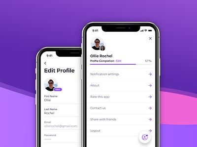 App Profile profile photo icon floating action button settings account menu form fields edit progress bar ios app profile iphone x