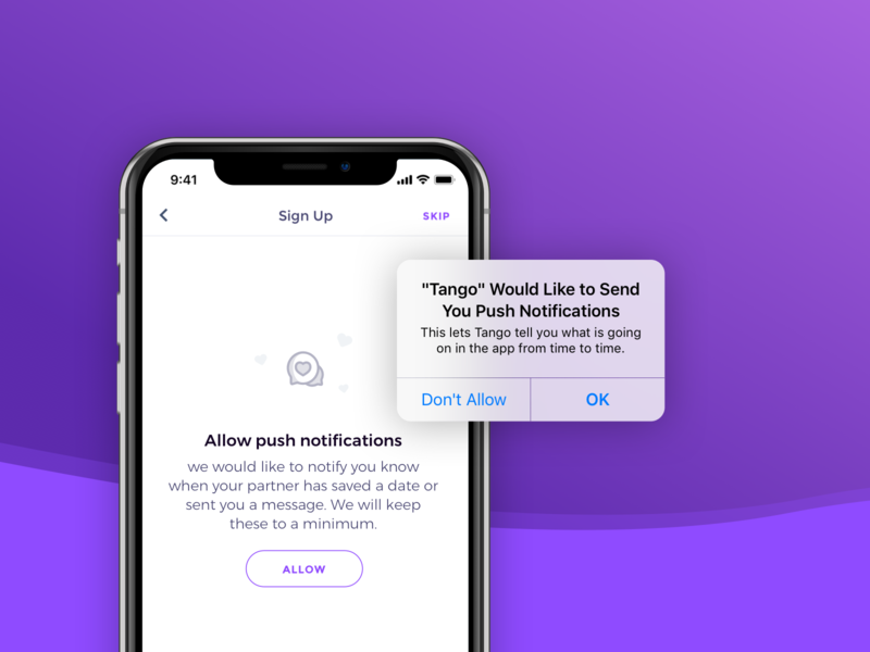 Priming for Notifications allow skip heart illustration ios native notification prime priming iphonex ui app
