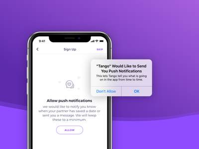 Priming for Notifications allow skip heart illustration ios native notification prime priming iphonex ui app