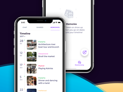 Memories Timeline mvp simple time line dates tags icons illustration fab tabs filter ios list view empty state iphone xs max iphone xs timeline