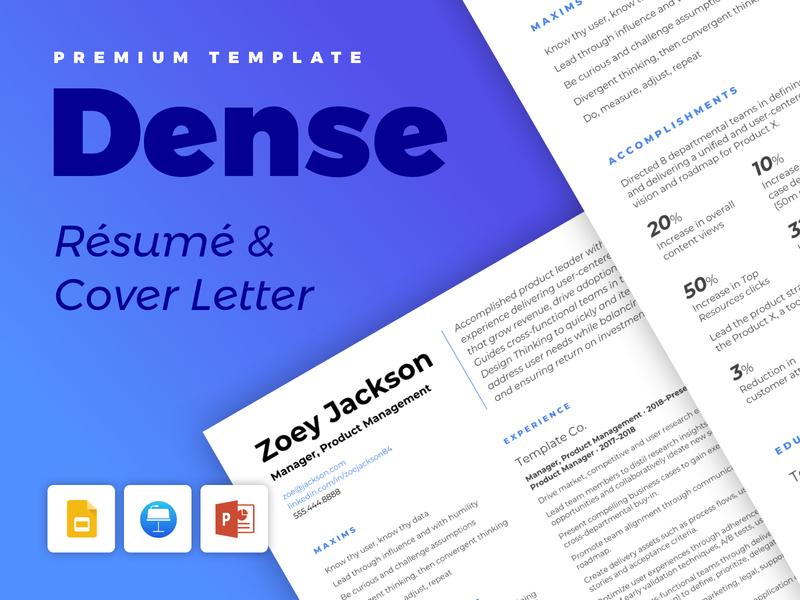 Dense - Resume and Cover Letter digital print pdf powerpoint keynote google slides google fonts blue manager product template clean cv resume