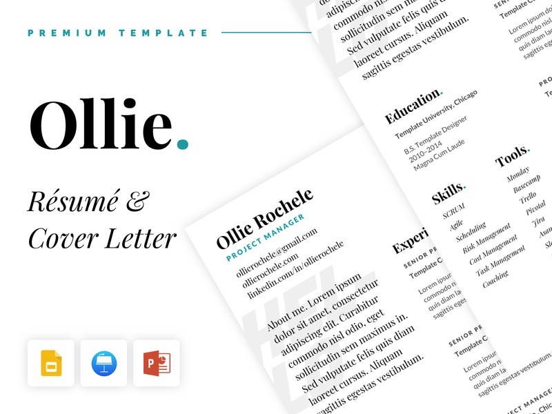 Ollie - Resume and Cover Letter digital template teal project manager powerpoint keynote google slides google fonts print cover letter cv resume