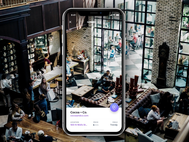 Location Detail Carousel immersive swipe fab cafe app native ios iphonex ui carousel location pin location