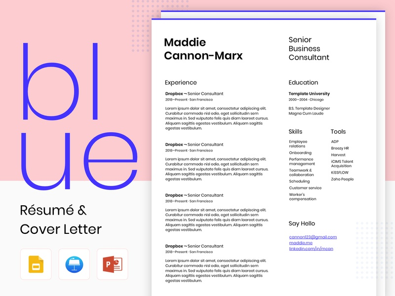 Blue - Resume and Cover Letter google slides print personal branding cover letter blue poppins grotesk grotesque resume