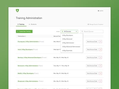 MongoDB Training Portal clean admin list dropdown ui