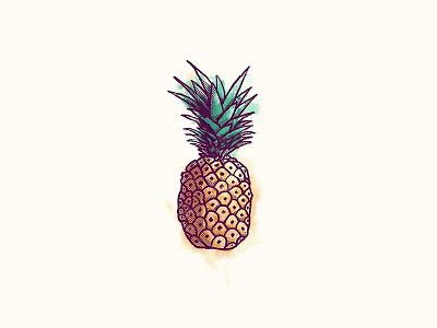 Pineapple editorial illustration halftone photoshop digital vector frutas fruta piña pattern illustration fruit pineapple