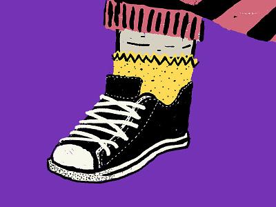 Converse screen printing character socks pattern illustration dinosaur converse