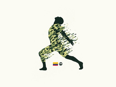 Dancing Soldier dancing paz pattern camouflage illustration war colombia peace soldier
