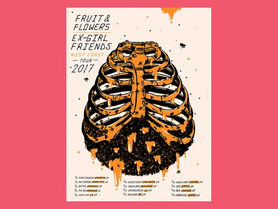 Fruit & Flowers + Ex-Girlfriends Tour Poster jose berrio screen printing gig poster illustration bones ribs bees hive poster