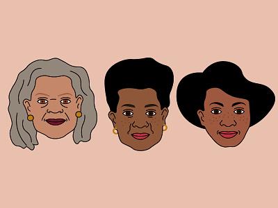 Happy Black History Month ✊🏿 design pins minimal feminist women zora neale hurston toni morrison maya angelou portraits vector illustration month history black