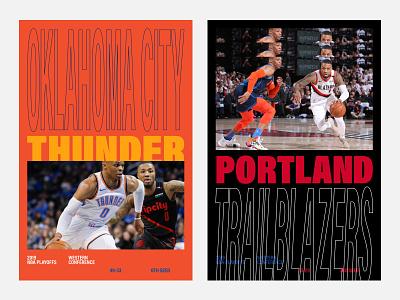 Thunder Blazers 🏀 blazers thunder okc portland playoffs poster minimal design graphic design basket basketball nba poster nba