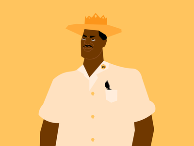 Martin Luther 👑 Jr. Day – 01/20 colors vector portraits graphic design flat portrait 25 crown yellow black king design minimal digital illustration mlk