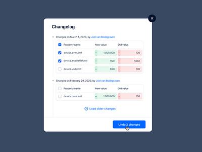 Change log design ui changelog
