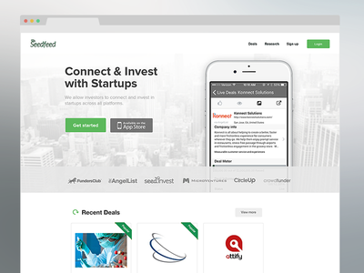 Homepage re-design concept simple white clean flat ui uxui seedfeed invest startup clevertech