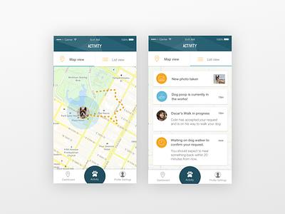 Go-Oscar Activity View service walking mobile activity view shot oscar dog ios ui app