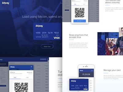 BitPay Debit Card Site Design landing page card visa blue qr code qr futuristic modern flat bitpay bitcoin