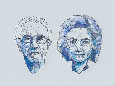 Line Art Portrait : Bernie sanders and hillary clinton geometric line art by mitch