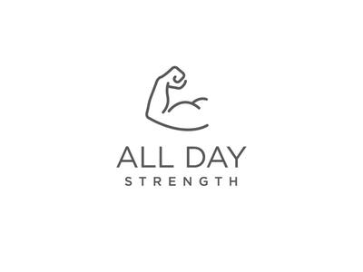 All Day Strength bicep arm muscle strength logo crossfit gym fitness