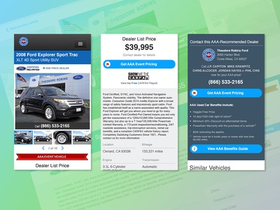 AAA Car Prices Website Vehicle Details Page UI Design - Mobile website web design vdp vehicles cars aaa ui ux