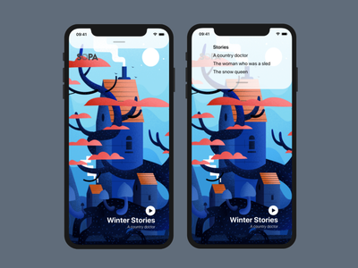 Winter Stories illustration flat app ios ux apple design swiftui swift