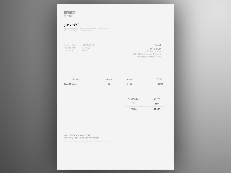 Invoice Template AI Freebie By GeorgianSorin Maxim Dribbble - Personal invoice template