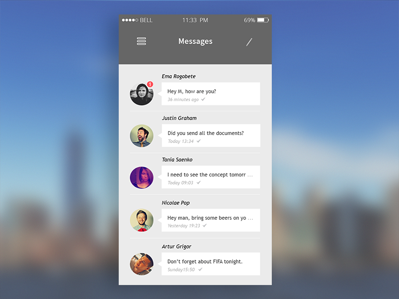 Messages UI | iOS App concept ios iphone message sms chat talk app design icons