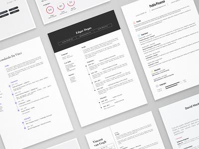 Masterpieces - 11 resume templates cv print template resume