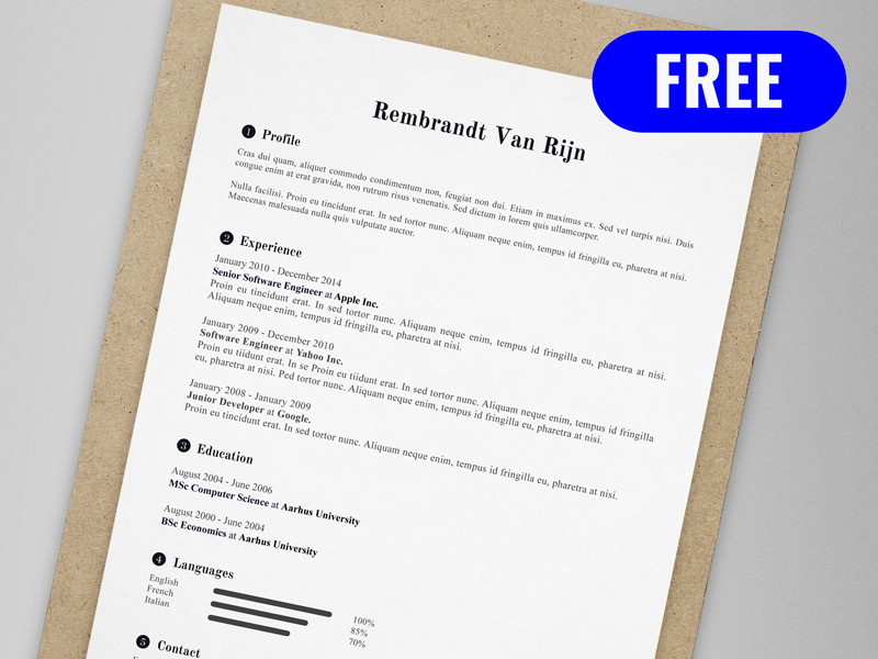Rembrandt Van Rijn - FREE resume/CV template   AI pdf illustrator ai cv print template resume