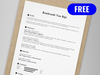 Rembrandt Van Rijn - FREE resume/CV template | AI pdf illustrator ai cv print template resume