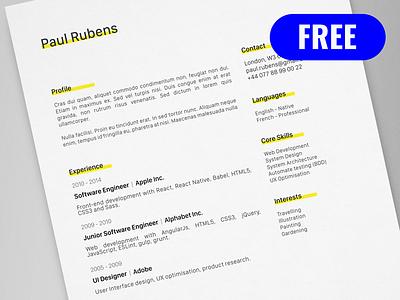 Paul Rubens - FREE creative resume/CV template / AI pdf illustrator ai cv print template resume