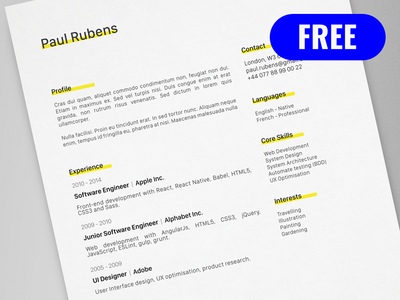 paul rubens free creative resumecv template ai