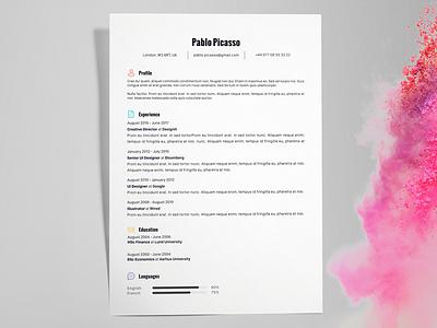 Pablo Picasso - FREE creative resume/CV template / AI resume template print cv ai illustrator pdf