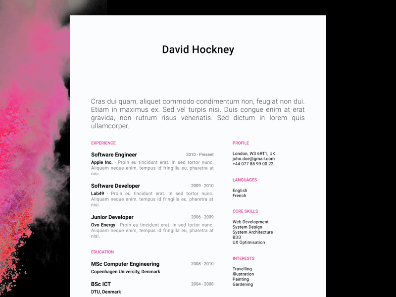 David Hockney - FREE creative resume/CV template / AI pdf illustrator ai cv print template resume