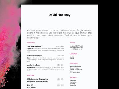 David Hockney - FREE creative resume/CV template / AI pdf illustrator ai cv print template resume