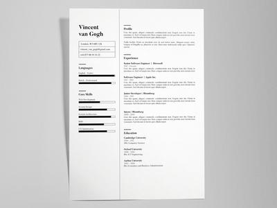 Vincent Van Gogh - FREE creative resume/CV template / AI