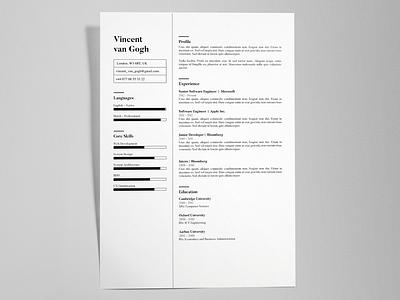 Vincent Van Gogh - FREE creative resume/CV template / AI identity resume print cv template cv ai pdf illustrator