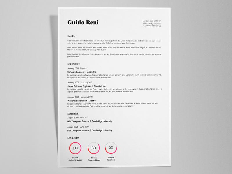Guido Reni - FREE creative resume/CV template / AI illustrator ai print cv template pdf identity resume cv