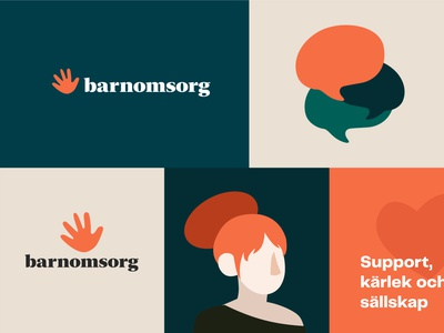 Barnomsorg Visual Style swedish organization barnomsorg sweden child care visual style graphic design illustrator illustration logo flat design minimal branding