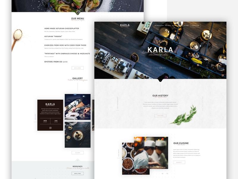Karla Restaurant website restaurant ui visual design