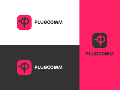 Plugcomm logo red ecommerce logo branding vector illustrator graphic design design