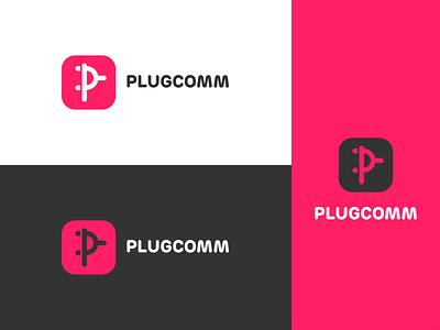 plugcomm logo revised plugin ecommerce red logo branding vector illustrator graphic design design