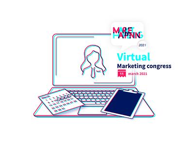 MarketHappening 2021 congress visual visual marketing design illustration blue marketing logo branding vector illustrator graphic design design