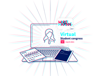 Virtual student congress visual Second concept marketing congress student congress marketing campaign blue marketing logo branding vector illustrator graphic design design