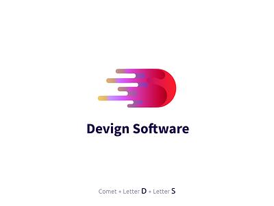 Devign software logo software red marketing logo branding vector illustrator graphic design design