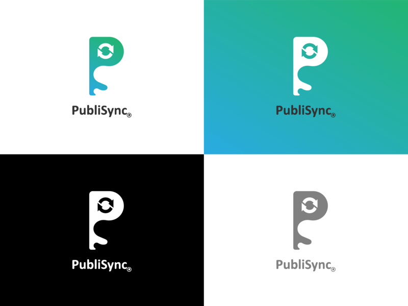 Publisync new logo idea company green branding blue marketing vector graphic design design illustrator