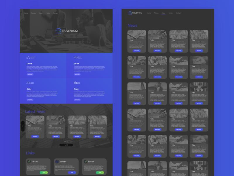 Noventum website concept webdesign webdeveloper ui blue branding logo vector graphic design design illustrator